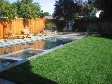 The homeowners wanted to maximize the amount of backyard lawn space for playtime.