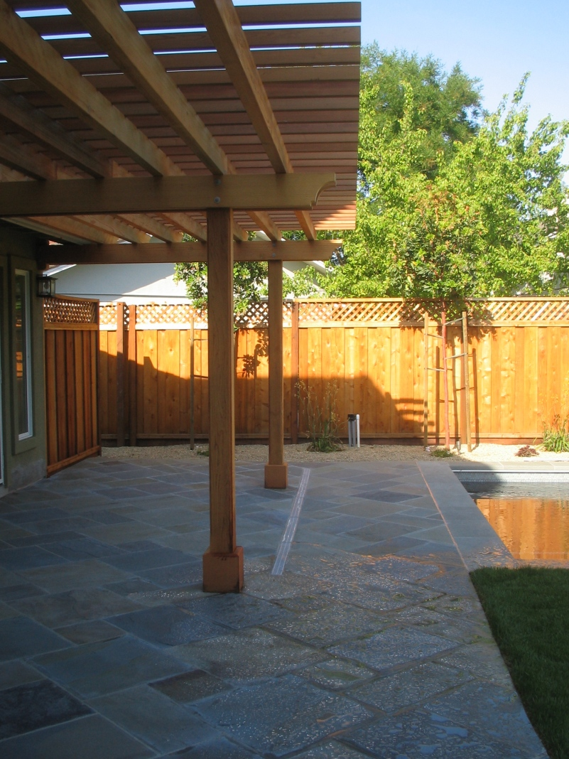 The pergola provided shade, as well as adding some architectural detail to the house.