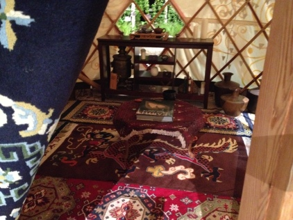 Inside the yurt...