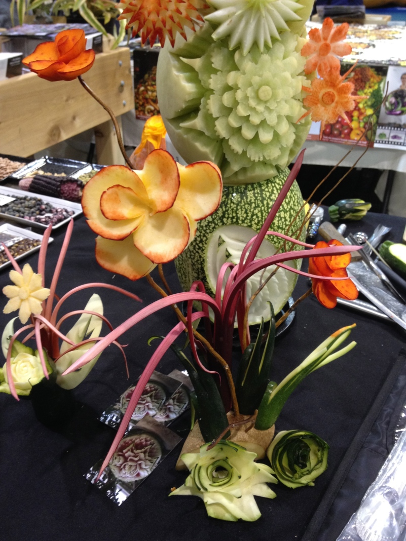 Carved vegetable displays in the heirloom expo.